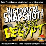 Ancient Egypt Historical Snapshot Close Reading Investigation