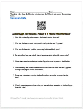 Ancient Egypt: How to make a Mummy in 4 Minutes Video Worksheet
