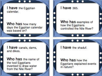 I Have, Who Has Ancient Egypt Review Game