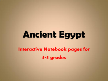 Ancient Egypt Interactive Notebook Pages