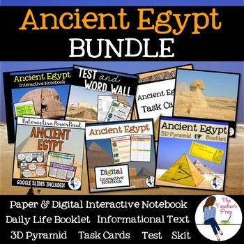 Ancient Egypt INB, Task Cards, 3D Pyramid Bundle and Skit