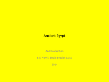 Ancient Egypt Introductory Activity