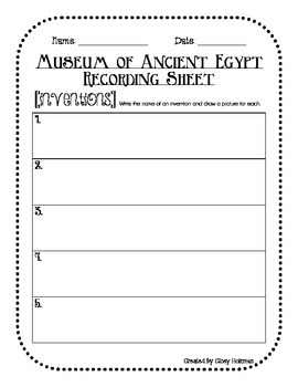 Ancient Egypt Inventions Museum Activity