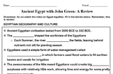 Ancient Egypt - John Green Worksheet