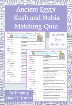 Ancient Egypt Kush and Nubia Activity Matching with Answer Key