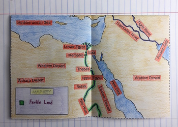 Ancient Egypt Map Foldable for Interactive Notebooks