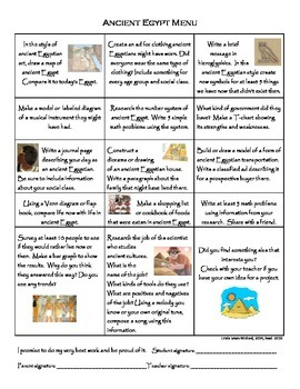 Ancient Egypt Menu