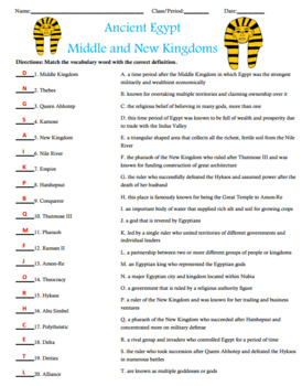 Ancient Egypt Middle and New Kingdoms Activity Matching with Answer Key