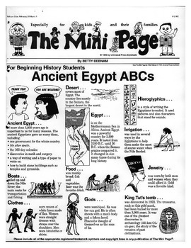 Ancient Egypt ABCs Review - SS Egypt Unit Use With MiniPage