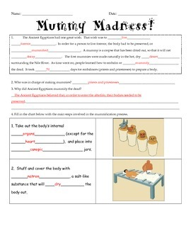 Ancient Egypt: Mummification Guided Notes