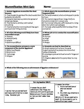 Ancient Egypt: Mummification Mini-Quiz
