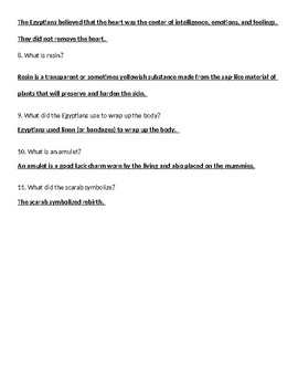 Ancient Egypt Mummification Web Quest Worksheet ANSWER KEY