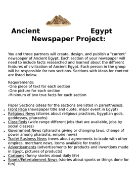 Ancient Egypt Newspaper Project