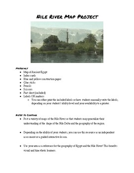 Ancient Egypt Nile River (Hand) Map Activity