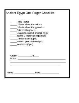 Ancient Egypt One Pager and Research