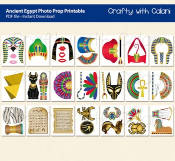 Ancient Egypt Photo Booth Prop, Ancient Egypt Theme Photo Booth Prop Printable