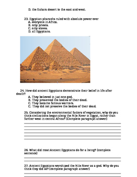 Ancient Egypt Post Test