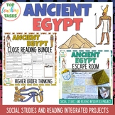 Ancient Egypt Reading Comprehension and Social Studies BUNDLE