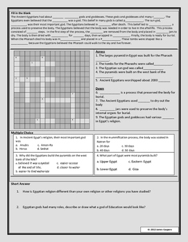 Ancient Egypt: Religion Reading and Worksheet by James ...