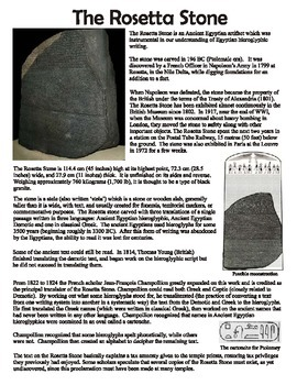 ancient egypt rosetta stone reading and questions worksheet by artsycat. Black Bedroom Furniture Sets. Home Design Ideas