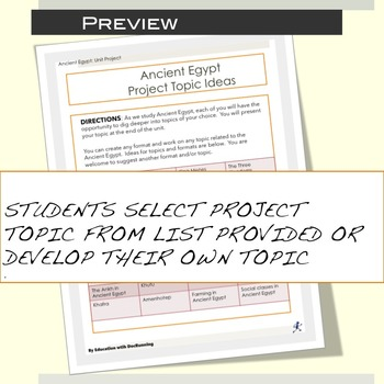 Ancient Egypt Student-centered unit project for Ancient Egypt Unit