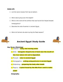 Ancient Egypt Study Guide with Key