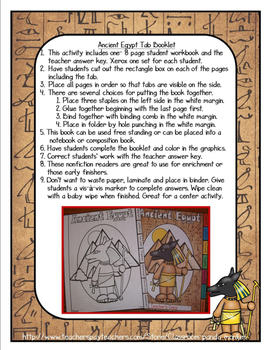 Ancient Egypt Tab Booklet