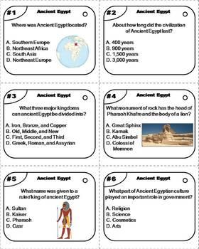 Ancient Egypt Task Cards (Egypt Unit)