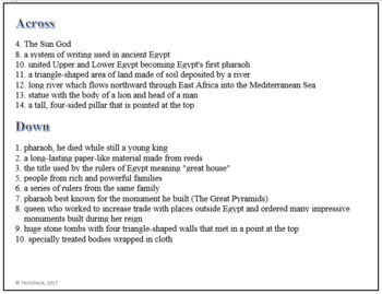 Ancient Egypt Terminology Crossword Puzzle Activity Worksheet