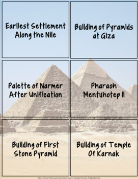 Ancient Egypt Timeline Activity Egyptians Overview