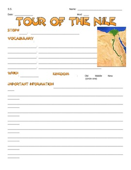 Ancient Egypt - Tour of the Nile Notesheet
