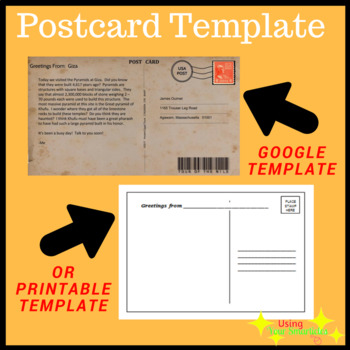 Digital And Printable Paper Template Postcard EDITABLE By Using Your - Editable postcard template