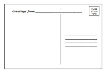 Digital And Printable Paper Template Postcard EDITABLE
