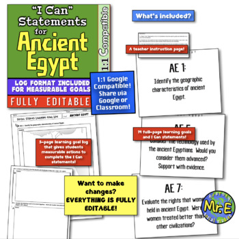 "Ancient Egypt Unit ""I Can"" Statements and Learning Goals! Log Egypt Learning!"