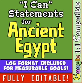 """Ancient Egypt Unit """"I Can"""" Statements and Learning Goals!"""