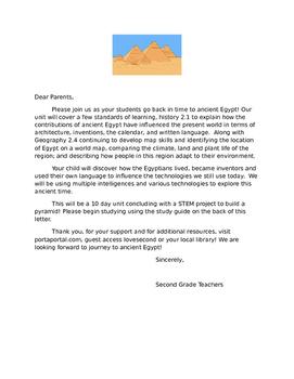 Ancient Egypt Unit Parent Letter