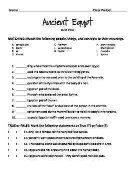 Ancient Egypt Unit Test
