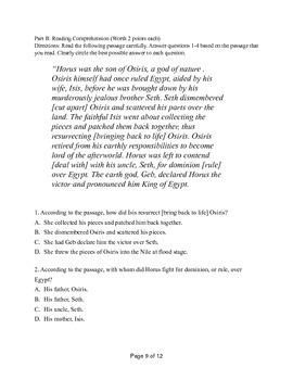 Ancient Egypt Unit Test