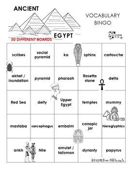 Ancient Egypt Vocabulary Bingo