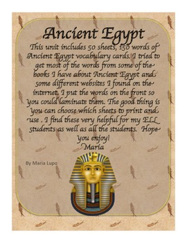Ancient Egypt Vocabulary / Word Wall Cards