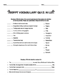 Ancient Egypt Vocabulary and Nile River Quiz