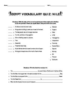 Ancient Egypt Vocabulary And Nile River Quiz By ELA Perseverance - River quiz