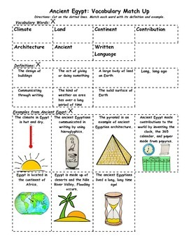 Ancient Egypt: Vocabulary, Reading Passage, Quiz