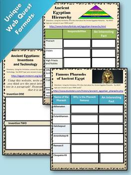 Ancient Egypt - WEB QUEST!