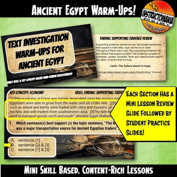 Egypt Warm-Ups Skill Based, World History Content Mini Lessons & Bell Ringers