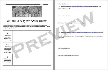 Ancient Egypt Webquest & Vocabulary