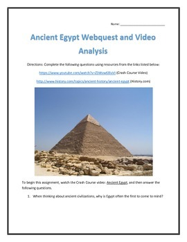 Ancient Egypt- Webquest and Video Analysis with Key