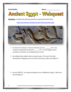 Ancient Egypt - Webquest with Key (History.com)