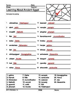 Ancient Egypt Word Scramble Printable