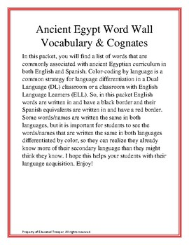Ancient Egypt Word Wall